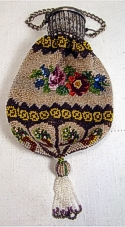 Floral Glass Beaded Bag on German Silver Gate-top Compact Frame
