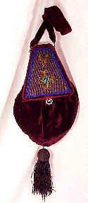 Very rare Victorian Beaded Silk Velvet pouch bag