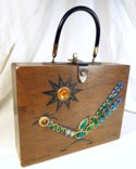Enid Collins Road Runner III Jeweled Wood Box Bag