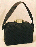 Diagonally pleated black faille Box Bag