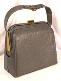 Artcraft Gray Faux Ostrich Leather Handbag