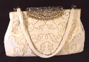 White Hand Beaded Evening Bag France