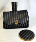 Lin-Bren Black & Gold Brocade Fitted Clutch &Matching Compact