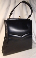 Black Leather Berne' of California Handbag w Wasp Waist