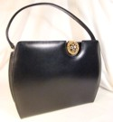 Caprice Black Leather Handbag w Off-Center Latch