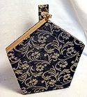 Cue 5-Sided Gold & Black Brocade Fitted Vanity Bag
