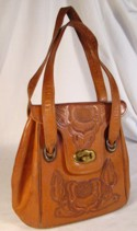 Brown Tolled Leather Handbag by Mikes Mge. Mexico