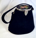 Black Conical Bag by Stefen Suede Cloth handbag